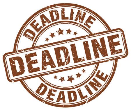 deadline: deadline brown grunge round vintage rubber stamp