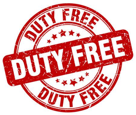 duty free: duty free red grunge round vintage rubber stamp