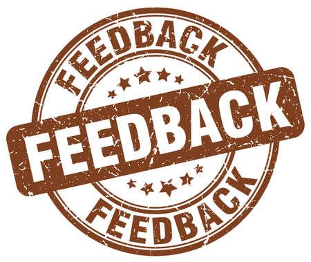 feedback: feedback brown grunge round vintage rubber stamp Illustration