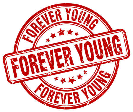 forever: forever young red grunge round vintage rubber stamp Illustration