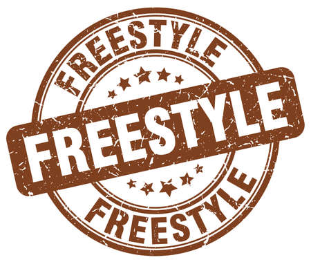 freestyle: freestyle brown grunge round vintage rubber stamp