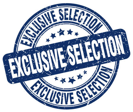 selection: exclusive selection blue grunge round vintage rubber stamp
