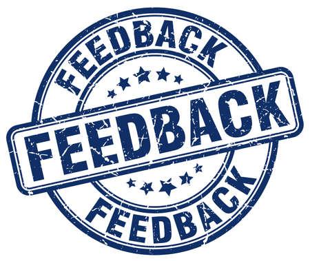 feedback: feedback blue grunge round vintage rubber stamp