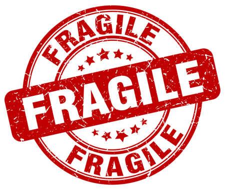 fragile red grunge round vintage rubber stamp