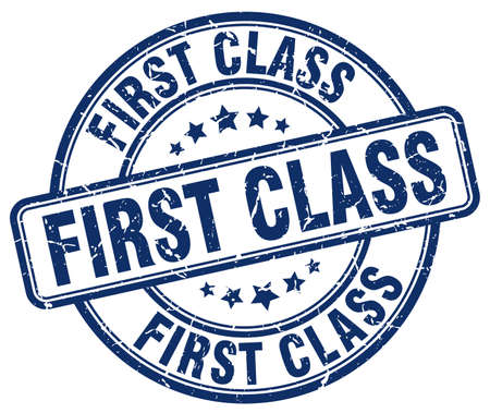 first in class: first class blue grunge round vintage rubber stamp Illustration