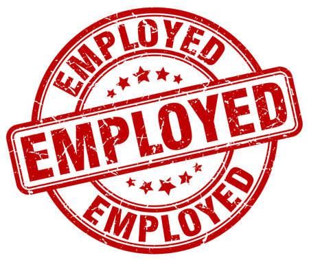 employed: employed red grunge round vintage rubber stamp