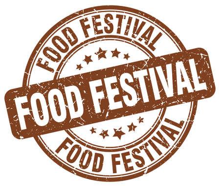 food festival: food festival brown grunge round vintage rubber stamp