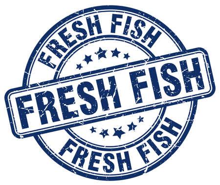fresh fish: fresh fish blue grunge round vintage rubber stamp