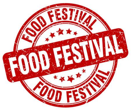 food festival: food festival red grunge round vintage rubber stamp