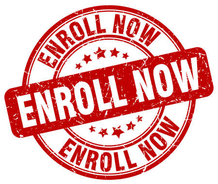enroll: enroll now red grunge round vintage rubber stamp