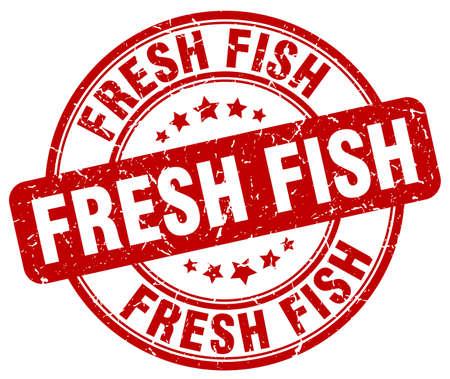 fresh fish: fresh fish red grunge round vintage rubber stamp