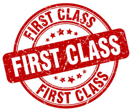 first in class: first class red grunge round vintage rubber stamp