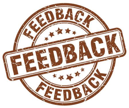feedback label: feedback brown grunge round vintage rubber stamp Illustration