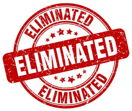 eliminated: eliminated red grunge round vintage rubber stamp Illustration