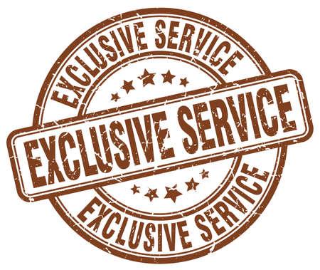 exclusive: exclusive service brown grunge round vintage rubber stamp