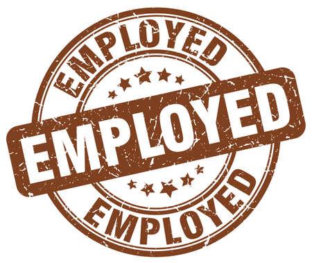 employed: employed brown grunge round vintage rubber stamp