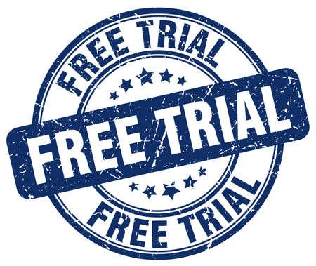free trial: free trial blue grunge round vintage rubber stamp