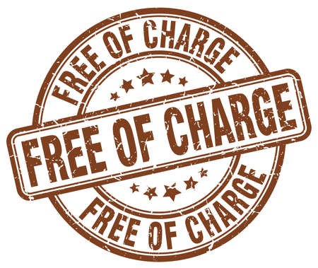 charge: free of charge brown grunge round vintage rubber stamp Illustration