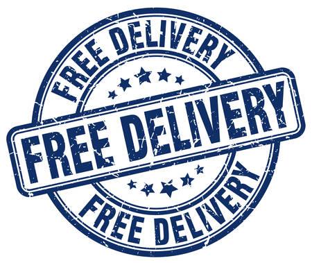 free delivery: free delivery blue grunge round vintage rubber stamp Illustration