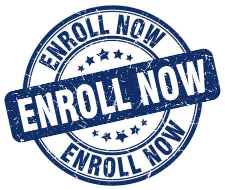 enroll: enroll now blue grunge round vintage rubber stamp Illustration