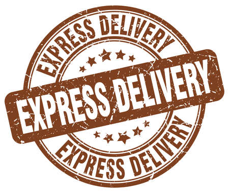 express delivery: express delivery brown grunge round vintage rubber stamp Illustration