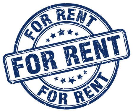 for rent: for rent blue grunge round vintage rubber stamp