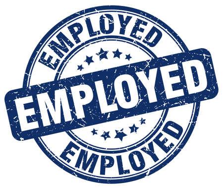 employed: employed blue grunge round vintage rubber stamp