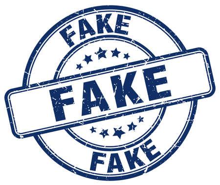 fake: fake blue grunge round vintage rubber stamp Illustration