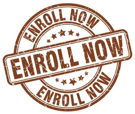 enroll: enroll now brown grunge round vintage rubber stamp Illustration