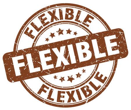flexibility: flexible brown grunge round vintage rubber stamp Illustration
