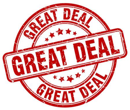 great deal: great deal red grunge round vintage rubber stamp Illustration