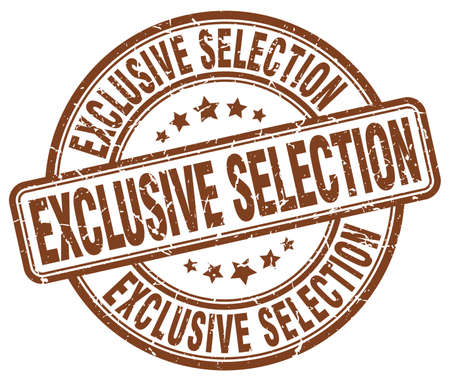 selection: exclusive selection brown grunge round vintage rubber stamp Illustration