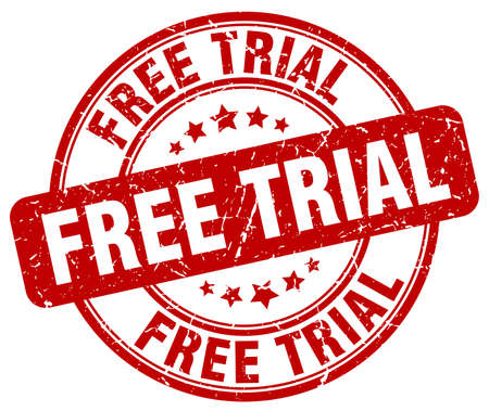free trial: free trial red grunge round vintage rubber stamp