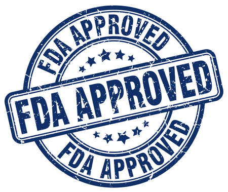 fda: fda approved blue grunge round vintage rubber stamp