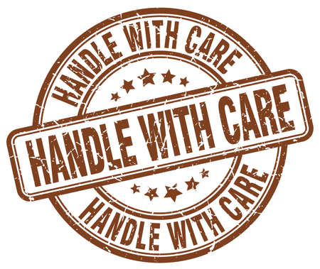 handle with care: handle with care brown grunge round vintage rubber stamp Illustration