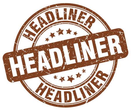 headliner: headliner brown grunge round vintage rubber stamp