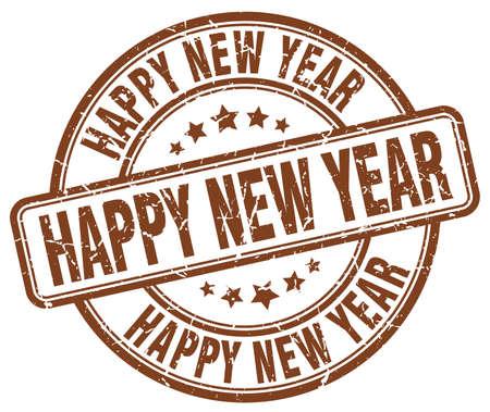 happy new year stamp: happy new year brown grunge round vintage rubber stamp