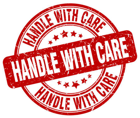 handle with care: handle with care red grunge round vintage rubber stamp Illustration