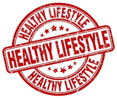 healthy lifestyle red grunge round vintage rubber stamp