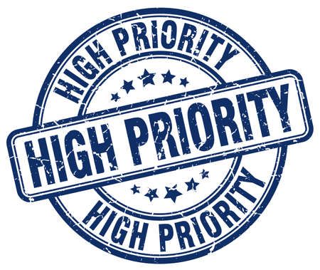 priority: high priority blue grunge round vintage rubber stamp Illustration