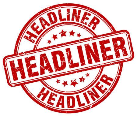 headliner: headliner red grunge round vintage rubber stamp