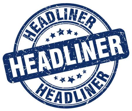headliner: headliner blue grunge round vintage rubber stamp