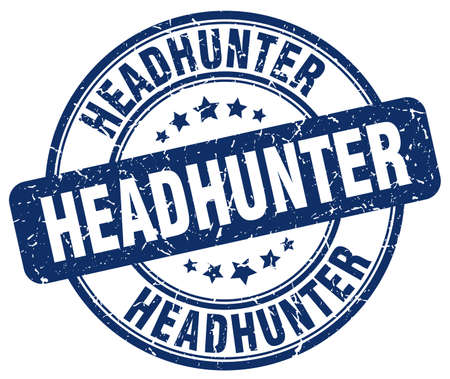 headhunter: headhunter blue grunge round vintage rubber stamp Illustration
