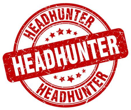 headhunter: headhunter red grunge round vintage rubber stamp