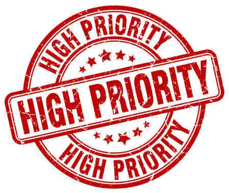 priority: high priority red grunge round vintage rubber stamp
