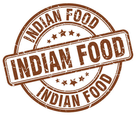indian food: indian food brown grunge round vintage rubber stamp