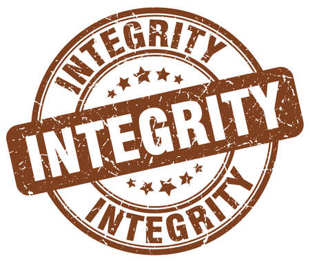 integrity: integrity brown grunge round vintage rubber stamp Illustration