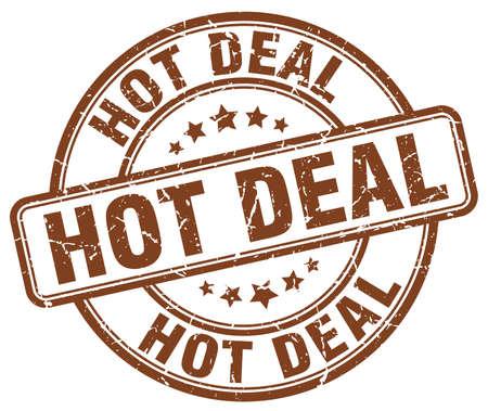 hot deal: hot deal brown grunge round vintage rubber stamp Illustration