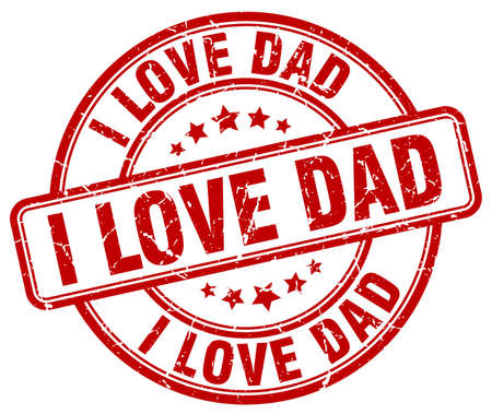 love stamp: i love dad red grunge round vintage rubber stamp Illustration