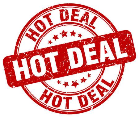 hot deal: hot deal red grunge round vintage rubber stamp Illustration